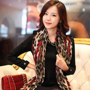 2013 heart leopard print scarf fluid lengthen women's large cape $2.10