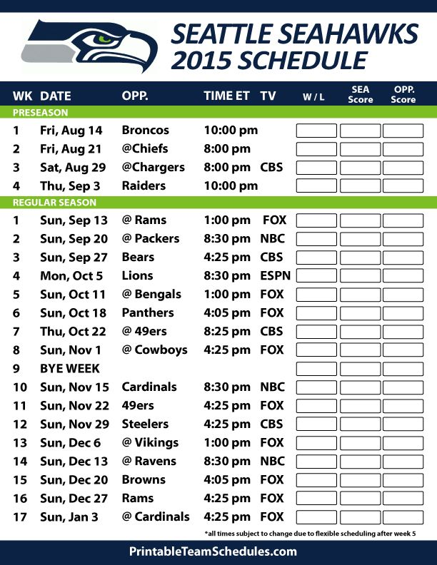 Seattle Seahawks 2015 Schedule. Printable version here: http://printableteamschedules.com/NFL/seattleseahawksschedule.php