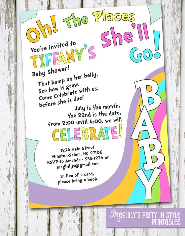 the places you 39 ll go baby shower invitation baby showers showers