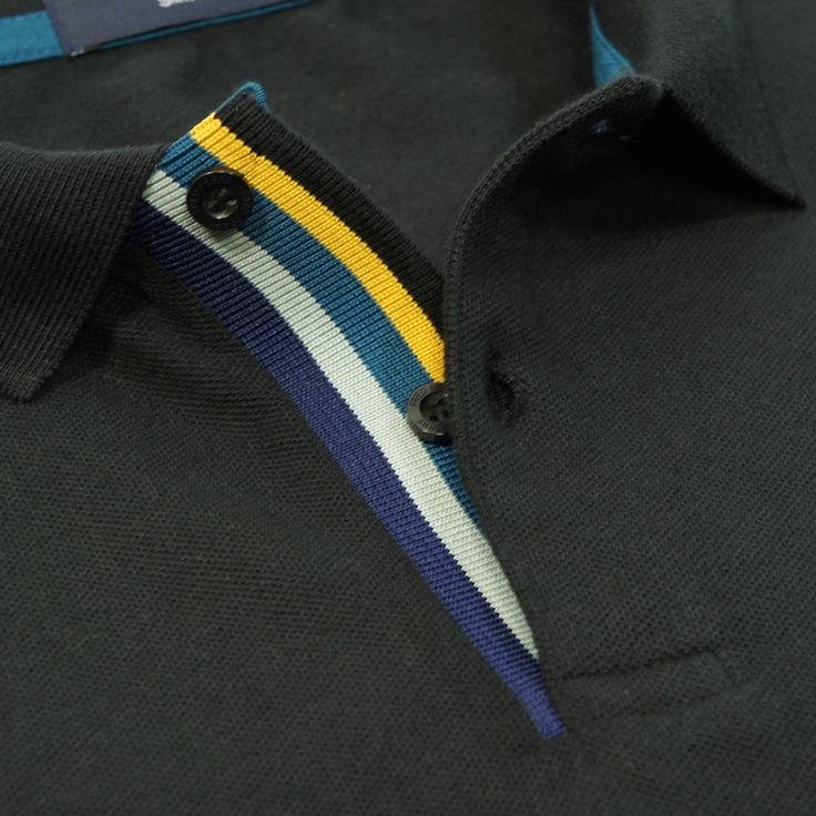 Multi Coloured Placket - Fred Perry Mens Multi Tipped Polo Shirt in Black