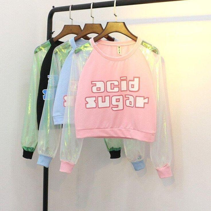 "Harajuku fashion transparent sleeve t-shirt SE9724      Coupon code ""cutekawaii"" for 10% off"
