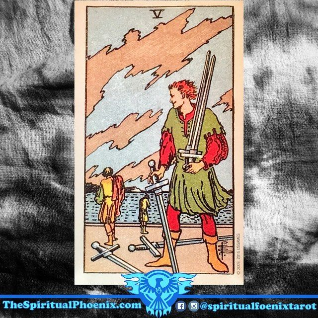 "Today's Tarot Card!  V of Swords:  Swords: The element of Air; The intellect and decisions  Swords/Air: I think - The Mind  Fives: Instability and challenges  Key Meanings: Upheaval, conflict, and loss  The traditional meaning of this Five of Swords is battle and loss.  It often shows family disputes, conflicts with managers, and also being the victim of ""the system"" - specifically, educational boards and government and educational bodies.  In relationships, the card predicts tension and…"