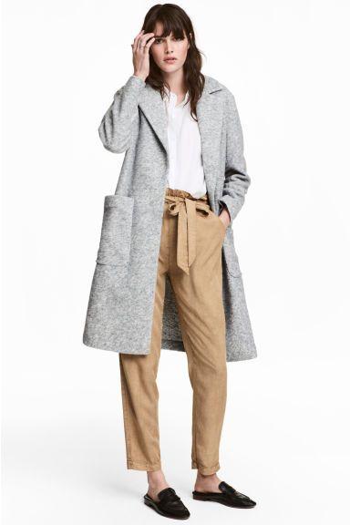 Manteau en laine mélangée - Gris clair chiné - FEMME   H&M FR