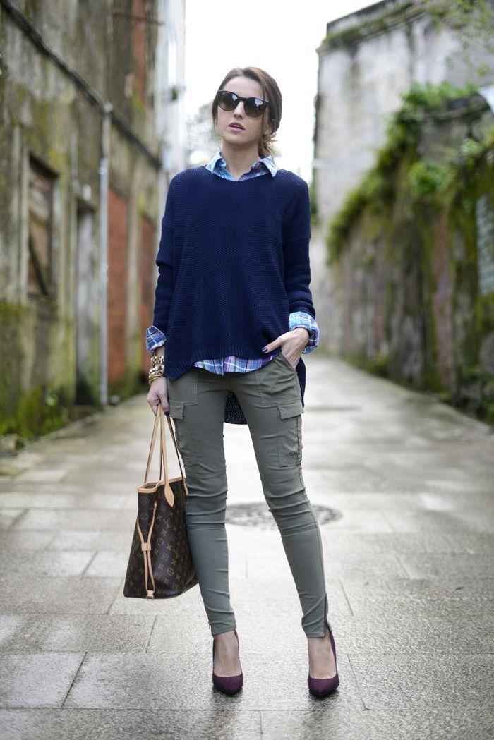 Olive cargo pants + navy oversized sweater + plaid shirt