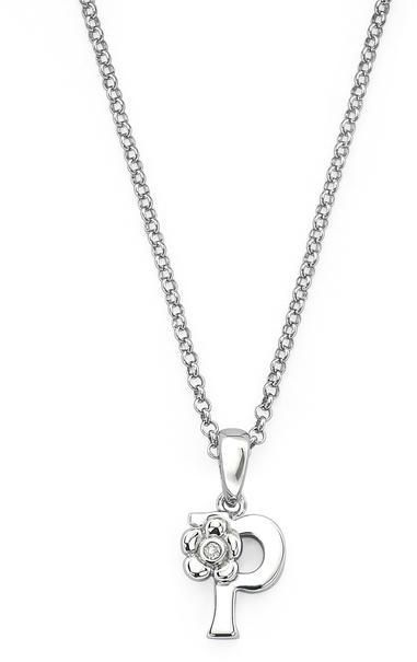 "Little Diva Diamonds Little Diva Silver Initial ""P"" Necklace with Diamond Accents for Children"
