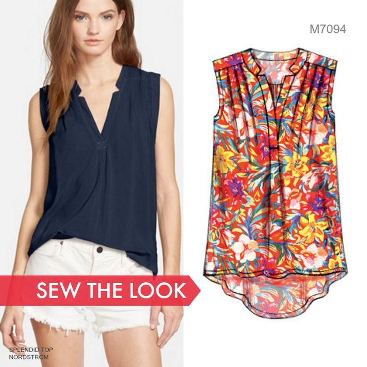 Sew the Look: We love this inspo top by Splendid. Use McCall's M7094 top patterns to sew your version of it. Try silk or poly crepe de chine.