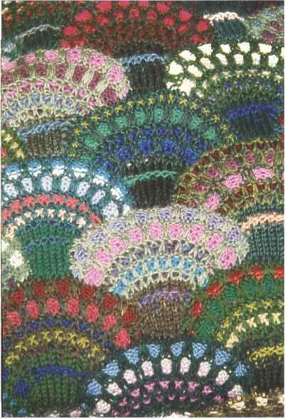 Here's a beautiful example of Patchwork Knitting, in a free pattern from Katknit Designs (copyright 2001 by Gloria J. Johnson). The basic technique for the blossom module is the Slip-Stitch Rib.