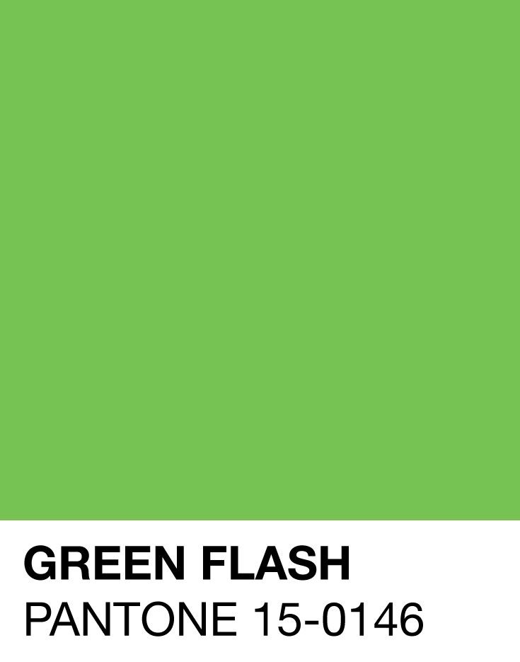 Green Flash calls on its wearer to explore, push the envelope and escape the mundane, radiating an openness that combines with the rest of the palette in unexpected but serendipitous ways. The popularity of this brilliant hue is representative of nature's persistent influence even in urban environments, a trend continuing to inspire designers. -Leatrice Eiseman Executive Director, Pantone Color Institute™