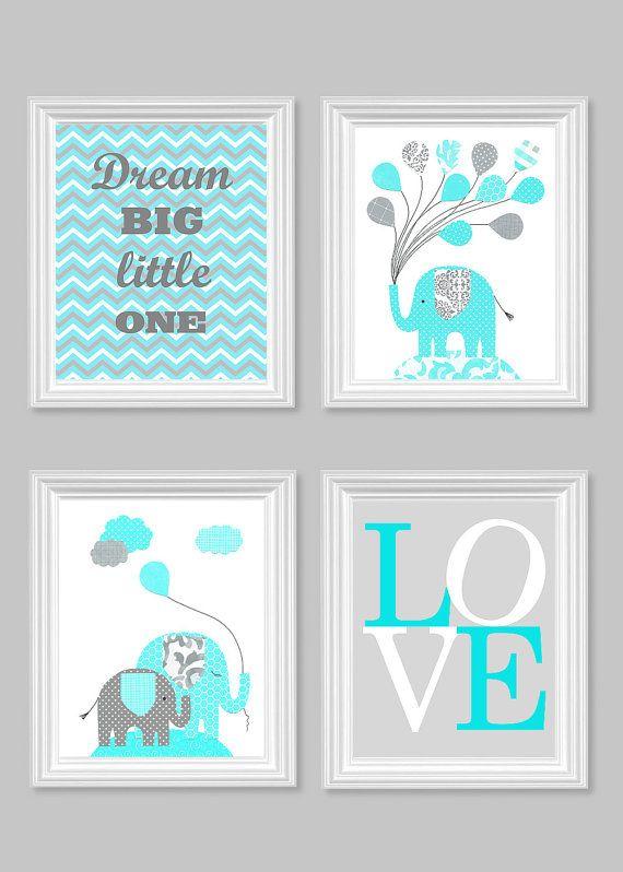 Dream Big Little One Elephant Nursery Art Gray Aqua Citron Yellow Orange Pink Baby Shower Gift Love 8 x 10 or 11 x 14 #nursery #decor #wallart