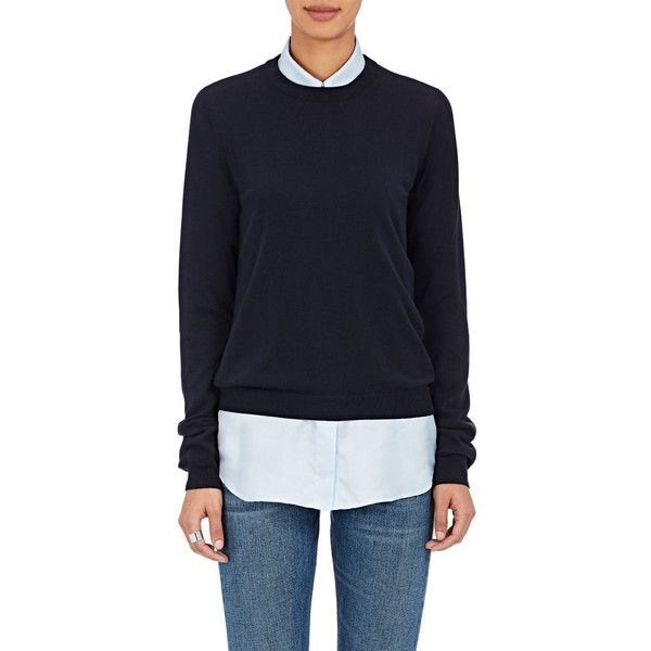 Maison Margiela Women's Cotton Elbow-Patch Sweater ($495) ❤ liked on Polyvore featuring tops, sweaters, navy, blue cotton sweater, navy crew neck sweater, navy sweater, blue sweater and maison margiela sweater