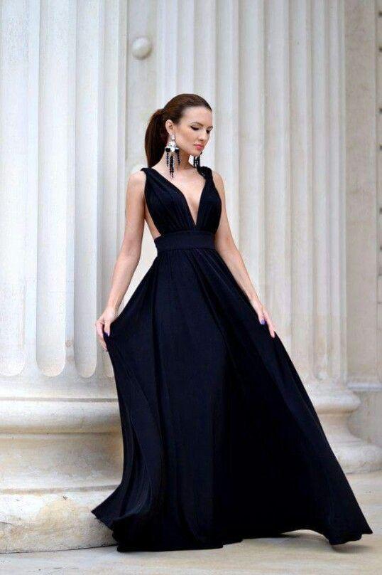 Vestido negro largo favorecedor