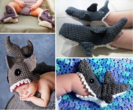 Crochet Shark Slippers Free Patterns - our post includes Free Crochet Hats, Shark Blankets plus Free Mermaid Crochet.