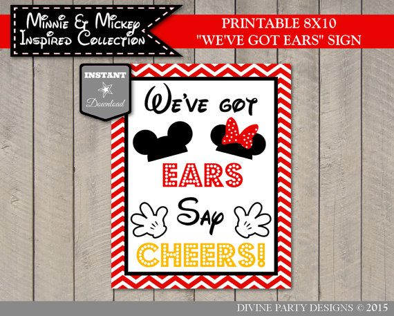 INSTANT DOWNLOAD Minnie and Mickey Inspired Chevron 8x10 We've Got Ears Say Cheers by DivinePartyDesign. Perfect for twins or siblings Minnie Mouse and Mickey Mouse Birthday Party!