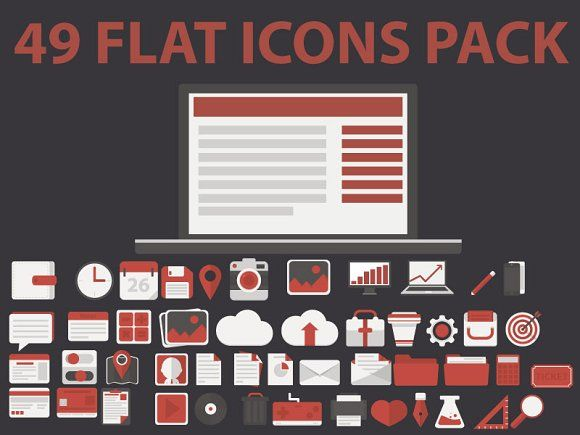 49 FLAT ICONS PACK by colorsark on @creativemarket