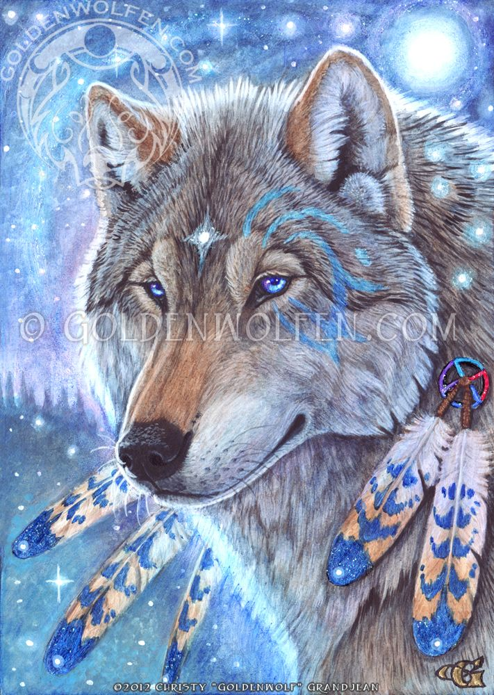 """""""Mystic Spirit""""  by Christy """"Goldenwolf"""" Grandjean Acrylic and glitter and crystals on 5 X 7 Illustration board. 2012. Prints and merchandise available: http://www.goldenwolfen.com/site/?wpsc_product_category=visionary"""