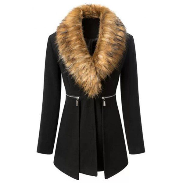Stylish Solid Color With Faux Fur Zipper Decorated Long Sleeve Women's Coat, BLACK, M in Jackets & Coats | DressLily.com