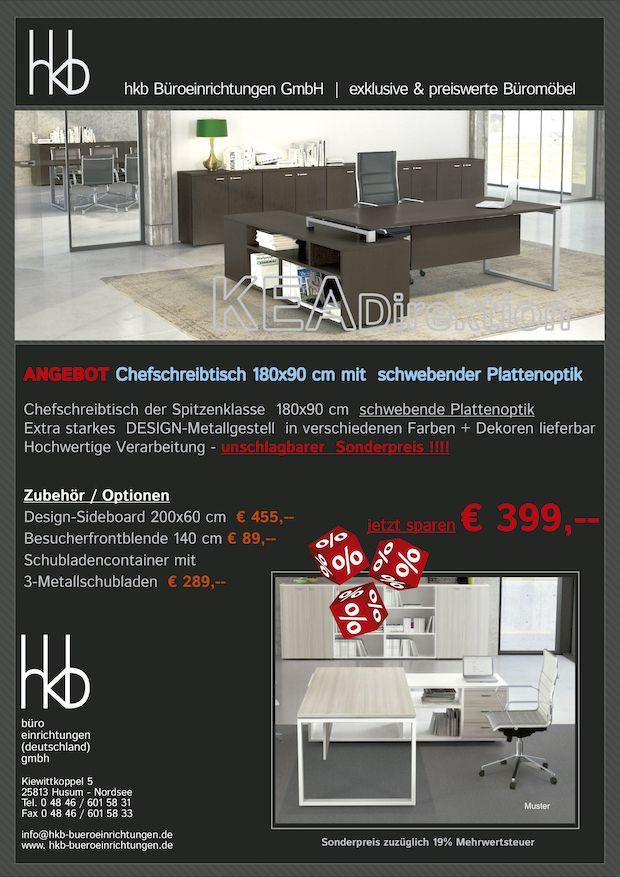 Angebot Chefschreibtisch 180x90 Cm Mit Schwebender Plattenoptikk Aus Der  Kollektion Büromöbel KEA Direktion Von Der Firma