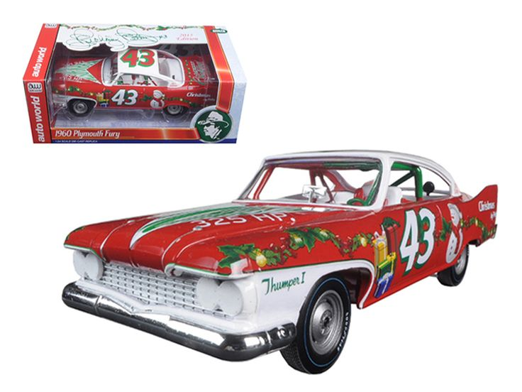 Richard Petty 1960 Plymouth Fury #43 2015 Christmas Edition Limited to 1250pc 1/24 Diecast Model Car by Autoworld - Brand new 1:24 scale diecast model car of Richard Petty 1960 Plymouth Fury #43 2015 Christmas Edition Limited to 1250pc die cast model car by Autoworld. Brand new box. Rubber tires. Has opening hood. Detailed interior, exterior. Made of diecast with some plastic parts. Dimensions approximately L-8,W-3,H-2.5 inches. Add some Christmas spirit to your home this holiday season with…