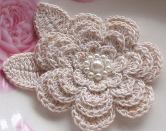 Crochet Flower With Leaves In 3 inches in Dusty Rose by YHcrochet