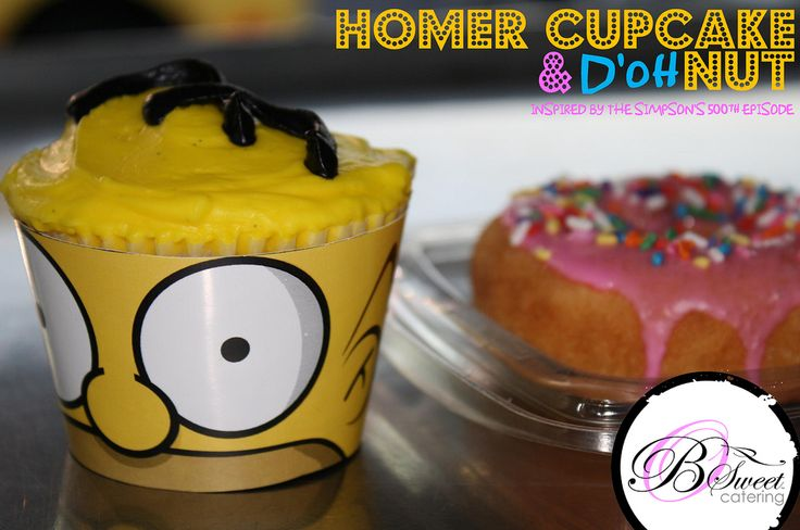 I think I need to make these for my husband...Homer Simpson donut cupcake to celebrate The Simpsons' 500th episode