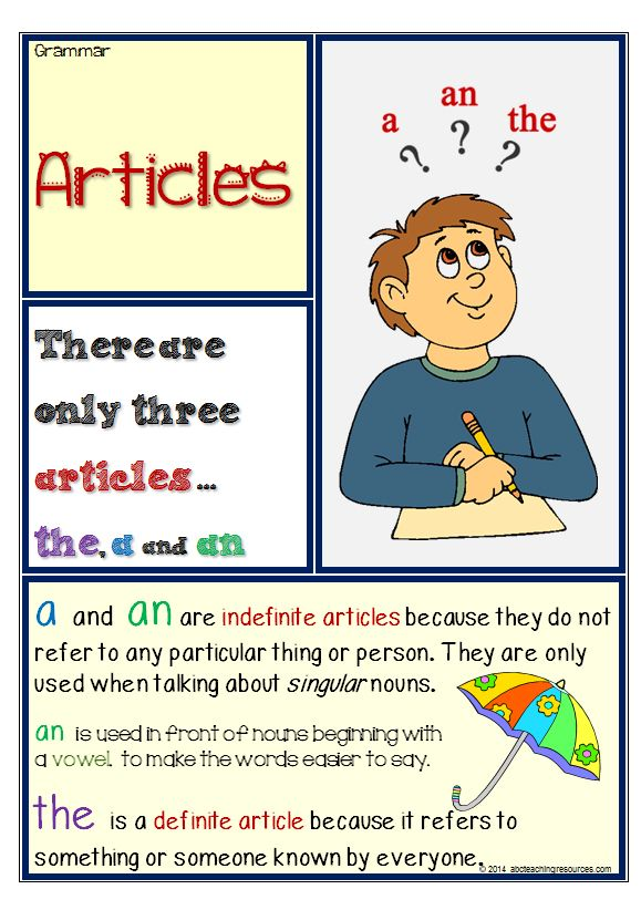 GRAMMAR: Parts of Speech| Articles: A colourful Article chart gives a definition and examples of how articles are used in English. www.abcteachingresources.com