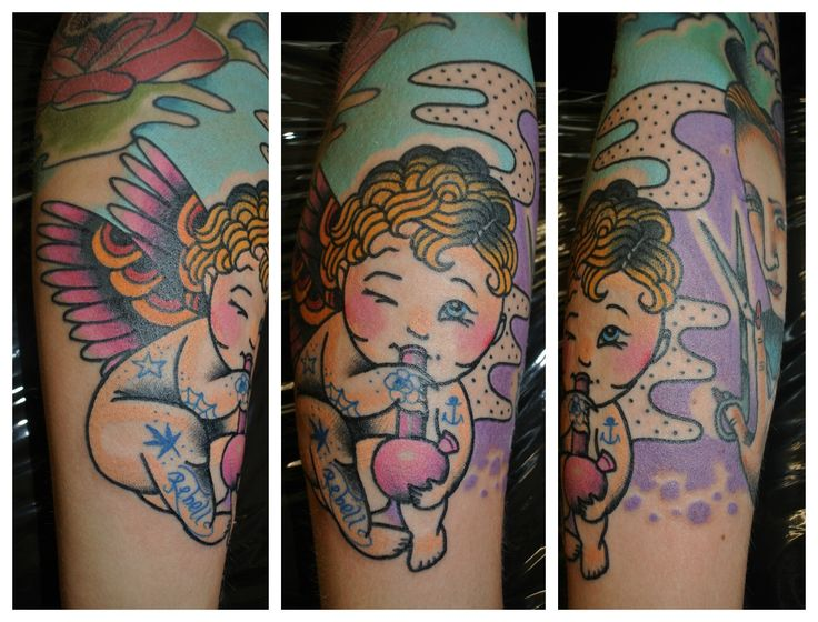 angel with bong tattoo