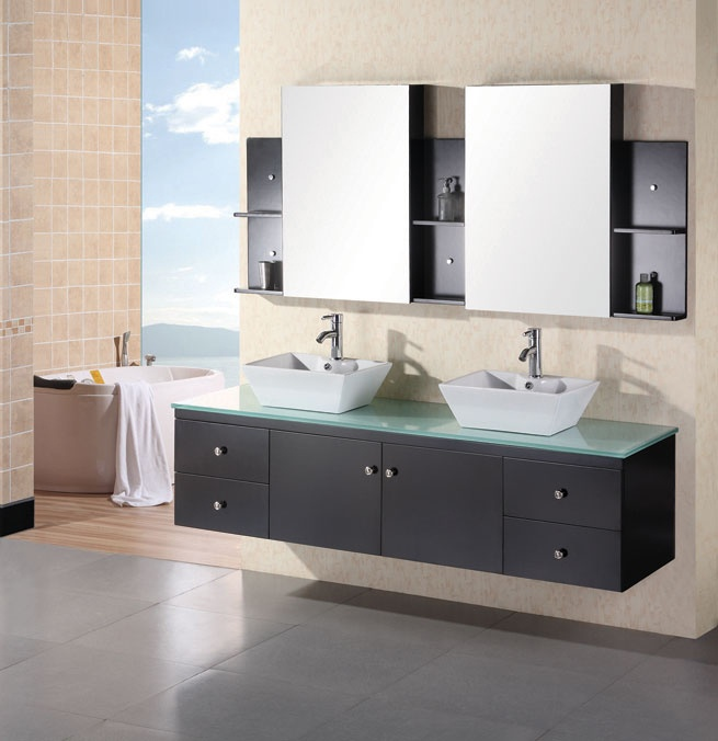 Design Element Portland 72 Double Sink Wall Mount Vanity Set In Espresso