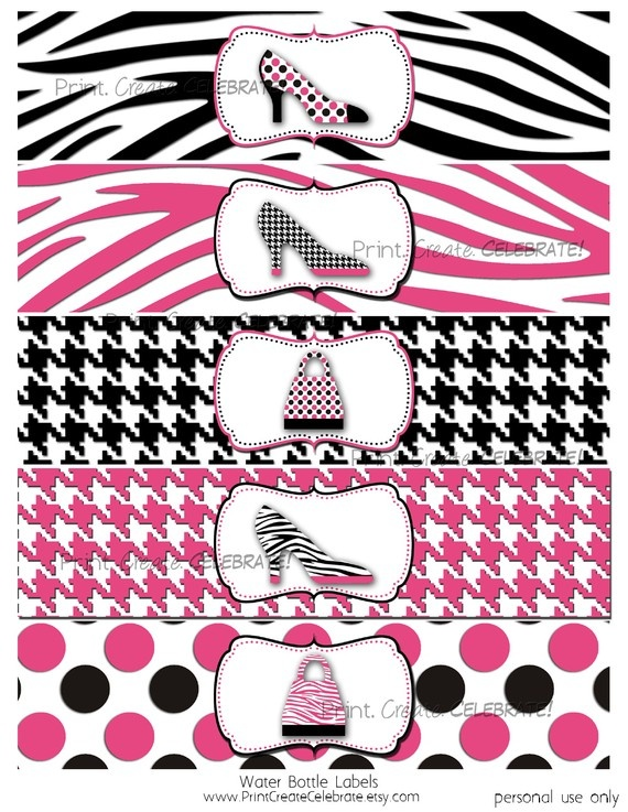 Water Bottle Labels Pink Diva Party by PrintCreateCelebrate, $4.00