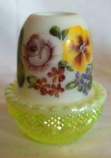 Mosser Vaseline Opalescent Carnival HP Fairy Lamp Light Spring Floral