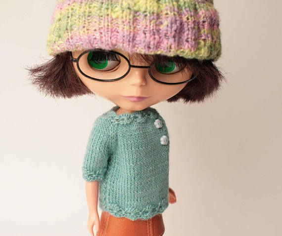 Blythe sweater, Light blue sweater with short sleeve for Blythe doll from VolnaDollsClother, Wool dress for 12 inch doll, Ornaments