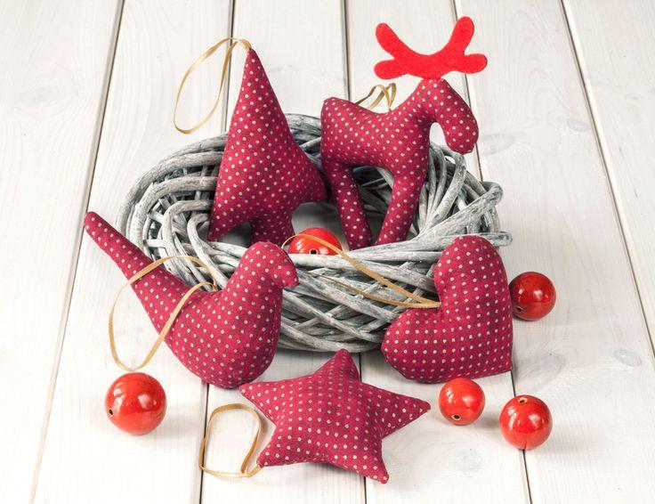 Ozdoby świąteczne( gwiazdka, serce, renifer, choinka, ptaszek)  http://bogatewnetrza.pl/pl/p/Ozdoby-swiateczne-Bordowe-w-zlote-kropeczki%2C-5szt./402