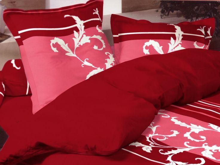 Pościel satynowa Valentini Bianco TORINO RED, 160x200 + 2x 70x80 cm oraz 220x200 + 2x70x80 cm, 100% bawełna.