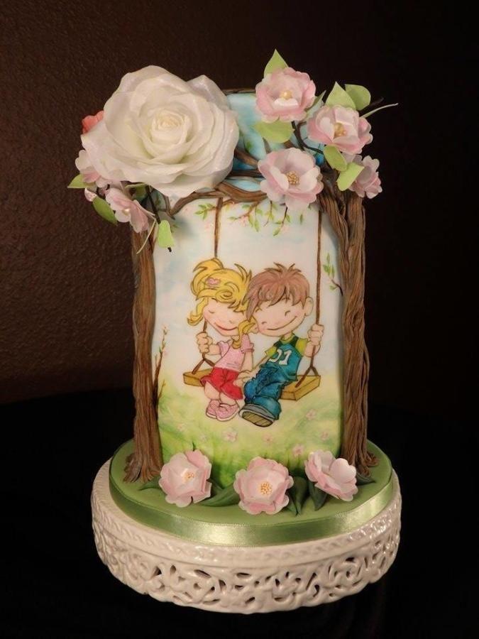 first love eternal love by Gabriela Rüscher - http://cakesdecor.com/cakes/221588-first-love-eternal-love
