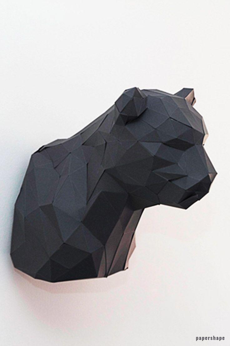Diy 3d Origami Panther Im Trophaenlook 3d Origami Basteln Mit Papier Vorlagen Und Basteln Mit Papier Origami