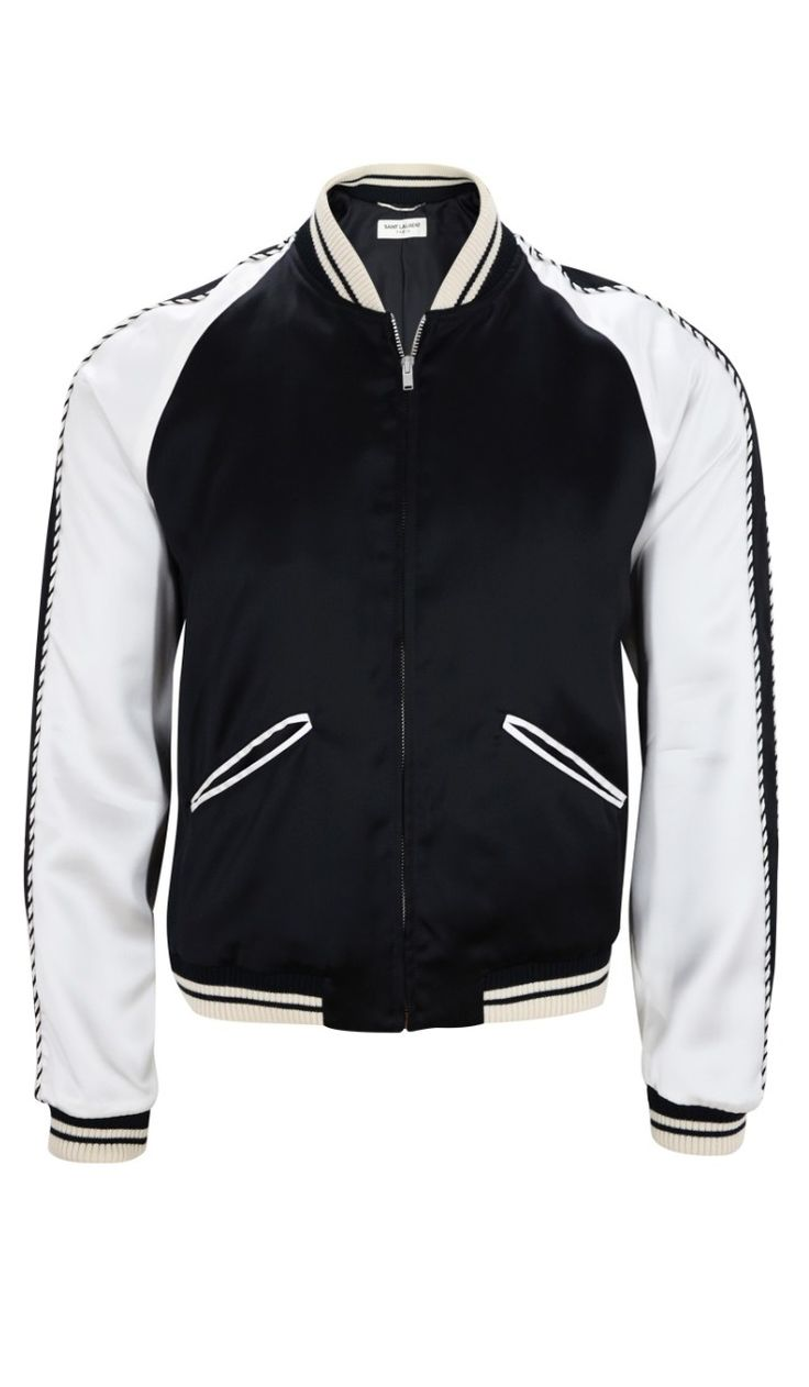 Saint Laurent Blood Luster Men's Satin Bomber Varsity Jacket