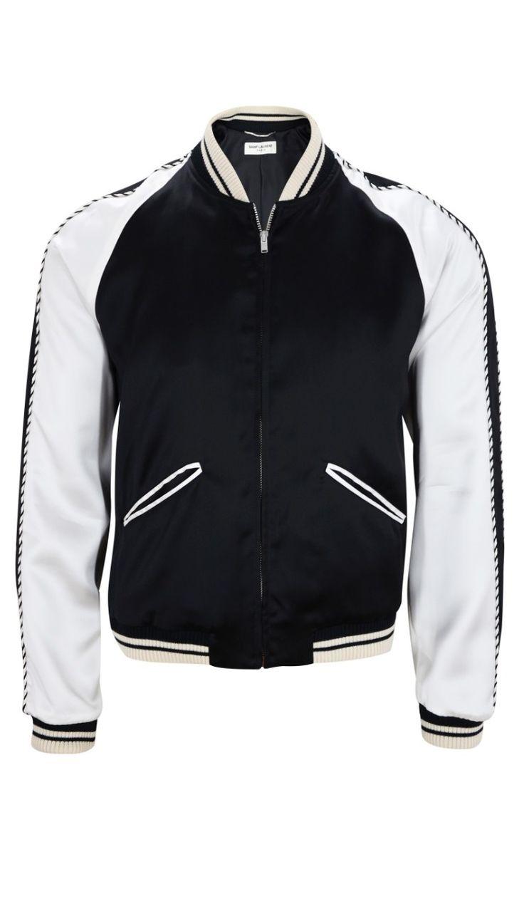 Saint Laurent Blood Luster Men's Satin Bomber Varsity Jacket