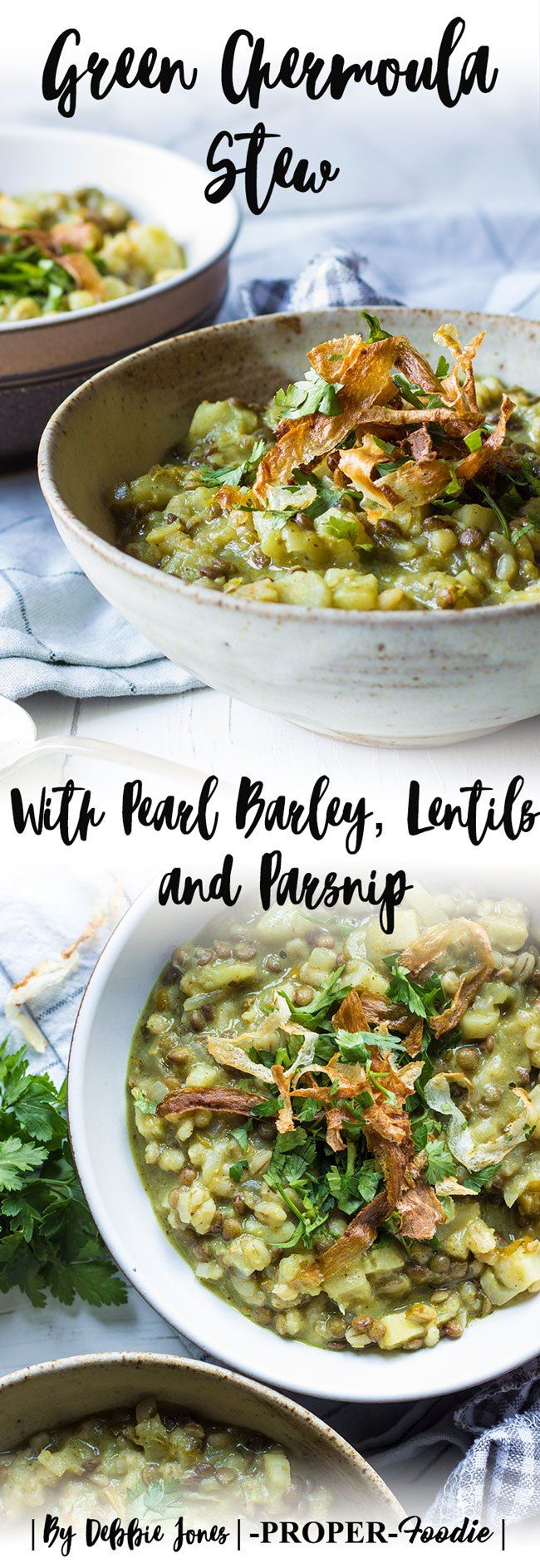A silky smooth and warming Chermoula veggie stew with parsnips for sweetness, lentils for bulking, and soft pearl barley to bring it all together into a luscious creamy stew.