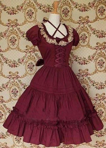 Dark Red Bow Lace Cotton Classic Lolita Dress Lolita Clothes