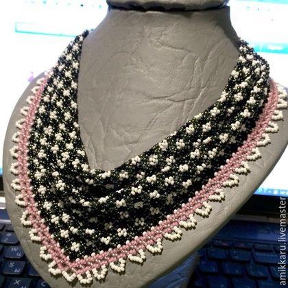 Купить Косынка из бисера - черно-белый, розовый, косынка из бисера, бисер, колье, ожерелье, косынка