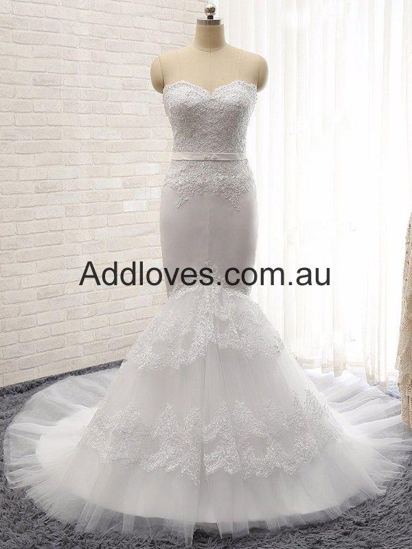 Mermaid Sweetheart White Wedding Dresses