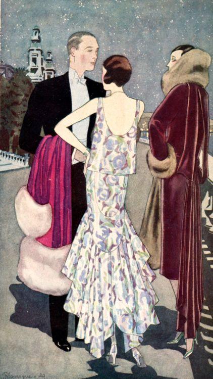 Robes Lucien Lelong (la terrasse du casino de Monte Carlo). Fémina, 1929.