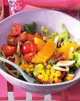 Mais-Tomaten-Salat mit Orangen und Bacon - Begleiter zu Gegrilltem: Salate - [LIVING AT HOME]