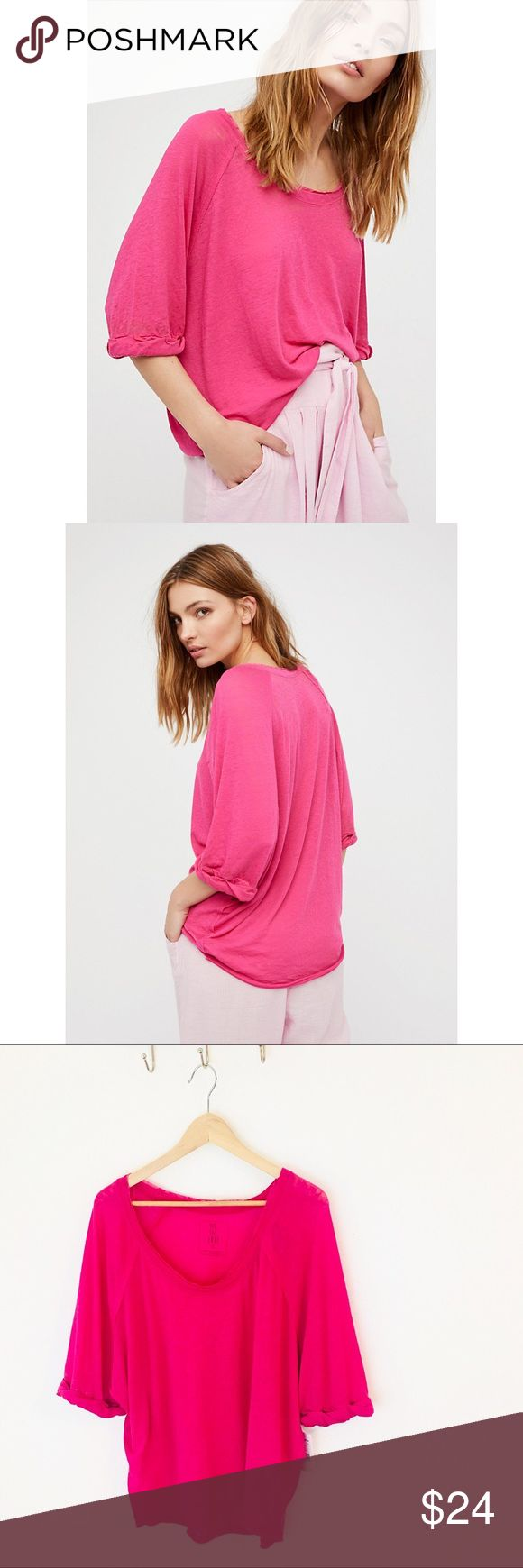 Free People Moonlight Tee Slouchy fit burnout knit tee in Hot Pink. Loose fit, NWT! 🌻 We The Free Free People Tops Tees - Short Sleeve