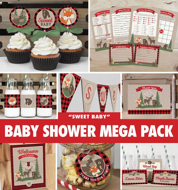 Baby Shower Mega Pack - Buffalo Plaid Woodland // INSTANT DOWNLOAD // Lumberjack Baby Shower Decorations // Fox Moose Bear // Printable BS05