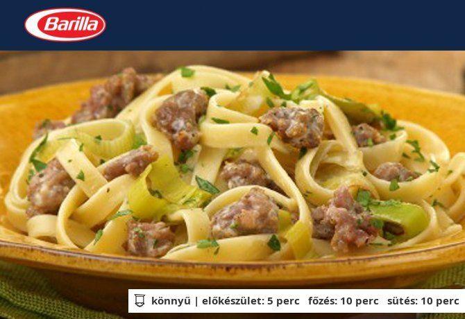 Krémes olasz tészta kolbásszal és póréhagymával