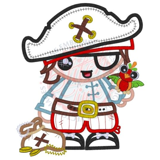 Lil Boy Pirate Applique 5x7