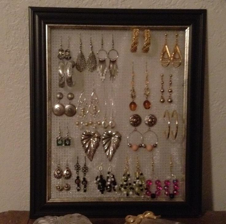 Easy cheap diy earring holder need 8x10 frame dollar for Hobby lobby jewelry holder