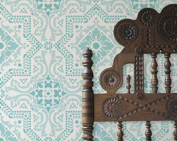 Wall Pattern Stencil Lisboa Tile Allover Stencil for Wall Decor and More. $59.00, via Etsy.