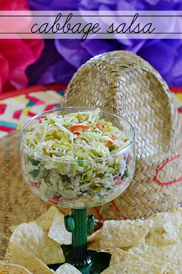 Cabbage Salsa |  One of a kind salsa made with angel hair shredded cabbage, green chiles and more.  This salsa is outstanding on any Mexican dish but really shines simply served with a big basket of chips.