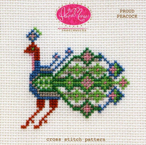 Proud Peacock #anna-maria-horner #anna-maria-needleworks #beginner #cross-stitch #design #pattern #peacock